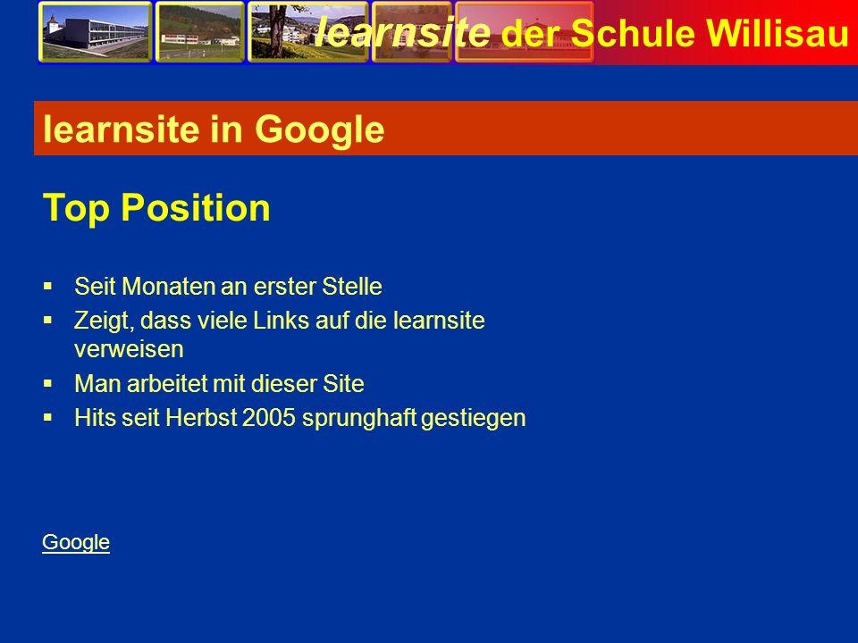 learnsite der Schule Willisau learnsite in Google Seit Monaten an erster Stelle Zeigt, dass viele Links auf die learnsite verweisen Man arbeitet mit d
