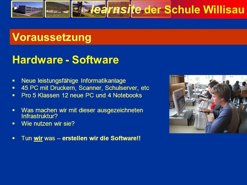 learnsite der Schule Willisau Voraussetzung Neue leistungsfähige Informatikanlage 45 PC mit Druckern, Scanner, Schulserver, etc Pro 5 Klassen 12 neue