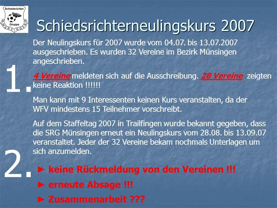 Schiedsrichterneulingskurs 2007 Der Neulingskurs für 2007 wurde vom 04.07. bis 13.07.2007 ausgeschrieben. Es wurden 32 Vereine im Bezirk Münsingen ang