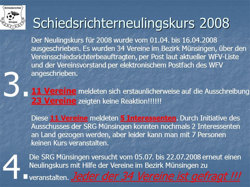 Schiedsrichterneulingskurs 2008 Der Neulingskurs für 2008 wurde vom 01.04. bis 16.04.2008 ausgeschrieben. Es wurden 34 Vereine im Bezirk Münsingen, üb