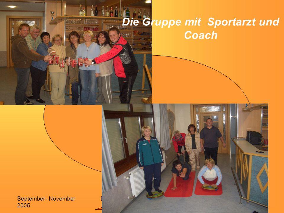 Dipl.Wellnesscoach Sonja GruberSeptember - November 2005 12 Die Gruppe mit Sportarzt und Coach