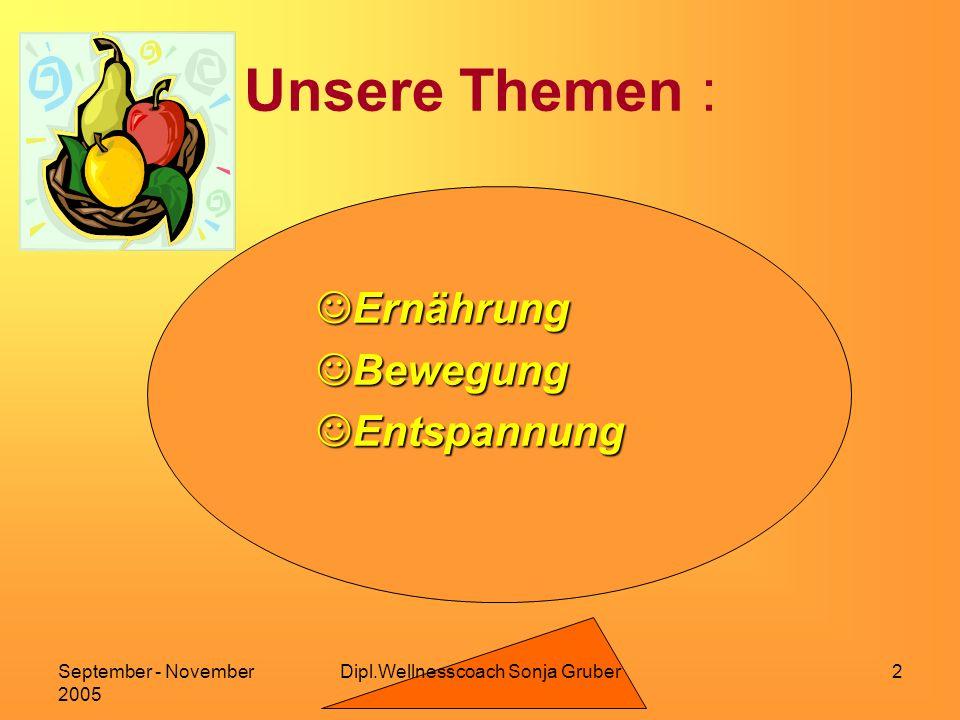 September - November 2005 2 Unsere Themen : Ernährung Ernährung Bewegung Bewegung Entspannung Entspannung