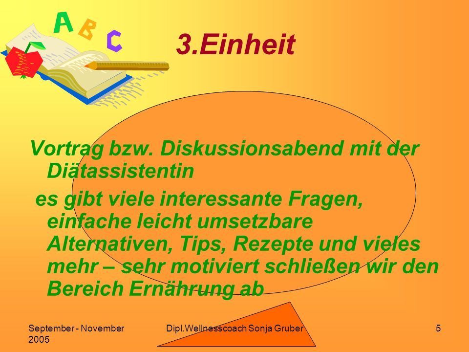 Dipl.Wellnesscoach Sonja GruberSeptember - November 2005 5 3.Einheit Vortrag bzw.