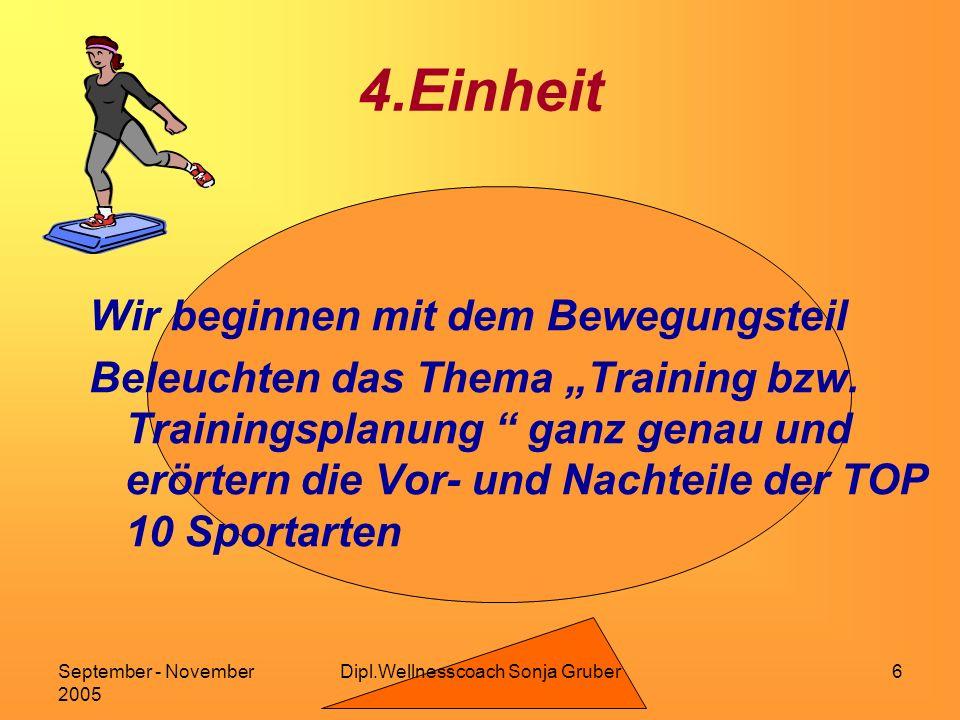 Dipl.Wellnesscoach Sonja GruberSeptember - November 2005 6 4.Einheit Wir beginnen mit dem Bewegungsteil Beleuchten das Thema Training bzw.