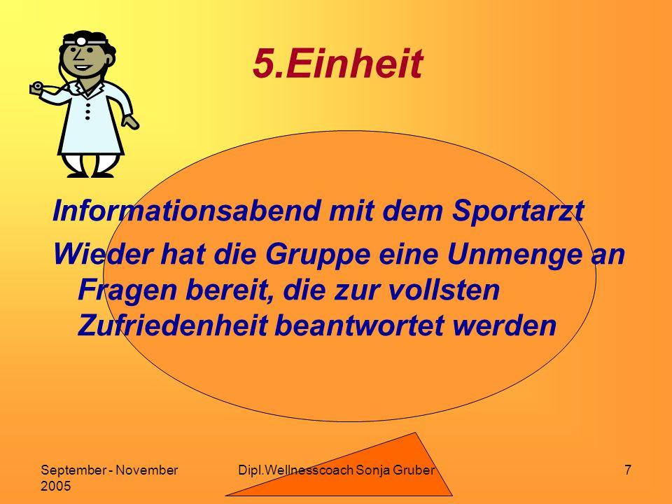 Dipl.Wellnesscoach Sonja GruberSeptember - November 2005 7 5.Einheit Informationsabend mit dem Sportarzt Wieder hat die Gruppe eine Unmenge an Fragen bereit, die zur vollsten Zufriedenheit beantwortet werden
