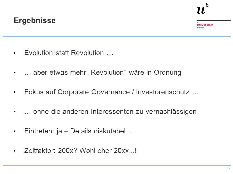 88 Ergebnisse Evolution statt Revolution … … aber etwas mehr Revolution wäre in Ordnung Fokus auf Corporate Governance / Investorenschutz … … ohne die anderen Interessenten zu vernachlässigen Eintreten: ja – Details diskutabel … Zeitfaktor: 200x.