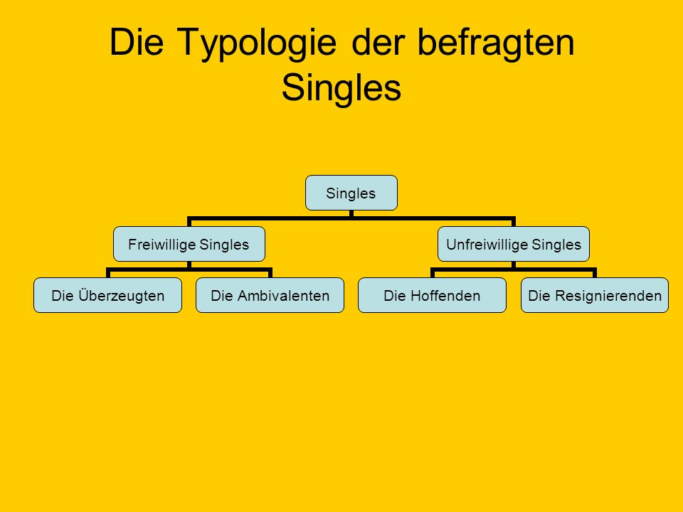 Die Typologie der befragten Singles Singles Freiwillige Singles Die Überzeugten Die Ambivalenten Unfreiwillige Singles Die Hoffenden Die Resignierende