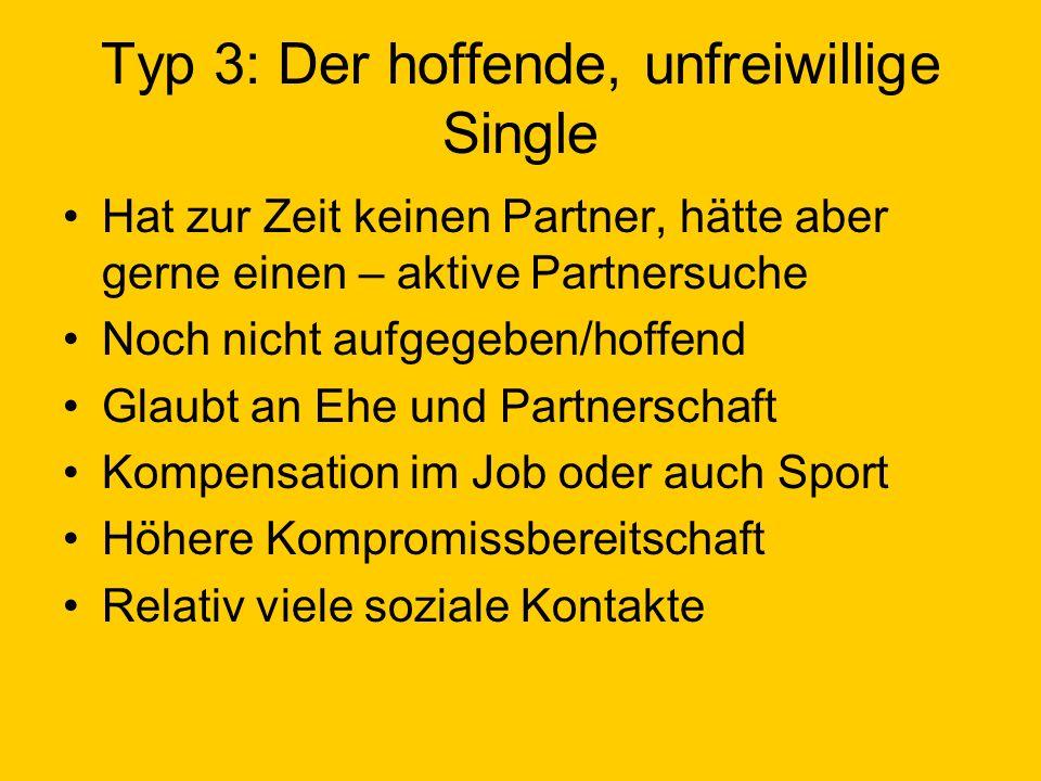 Typ 3: Der hoffende, unfreiwillige Single Hat zur Zeit keinen Partner, hätte aber gerne einen – aktive Partnersuche Noch nicht aufgegeben/hoffend Glau