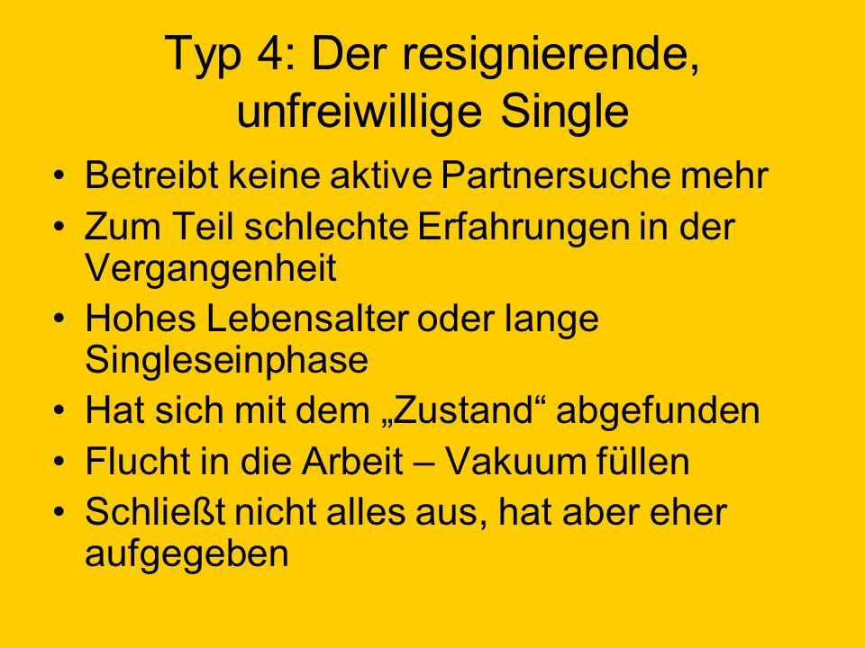 Typ 4: Der resignierende, unfreiwillige Single Betreibt keine aktive Partnersuche mehr Zum Teil schlechte Erfahrungen in der Vergangenheit Hohes Leben