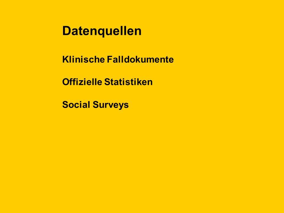 Datenquellen Klinische Falldokumente Offizielle Statistiken Social Surveys