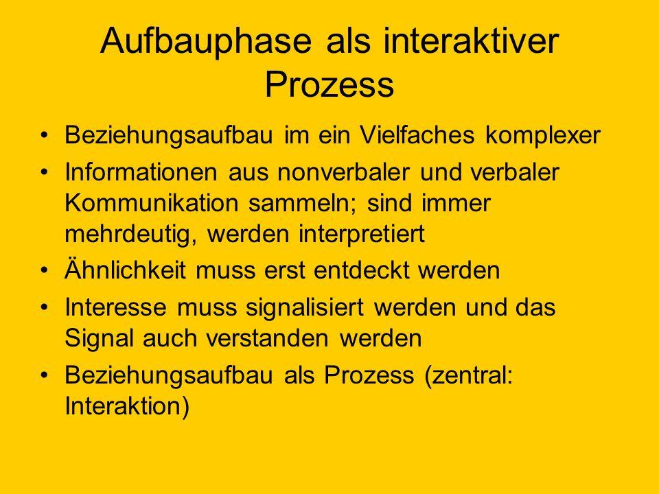 Aufbauphase als interaktiver Prozess Beziehungsaufbau im ein Vielfaches komplexer Informationen aus nonverbaler und verbaler Kommunikation sammeln; si