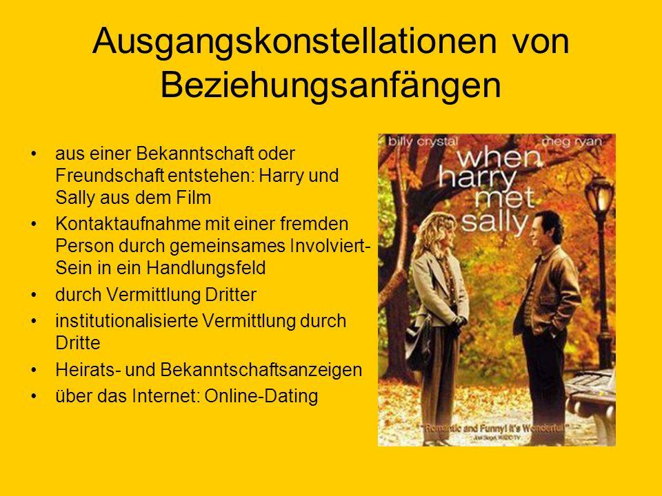 Ausgangskonstellationen von Beziehungsanfängen aus einer Bekanntschaft oder Freundschaft entstehen: Harry und Sally aus dem Film Kontaktaufnahme mit e