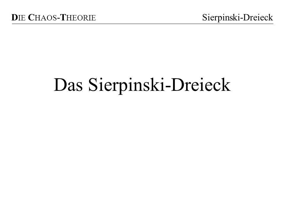 D IE C HAOS -T HEORIE Sierpinski-Dreieck Das Sierpinski-Dreieck S