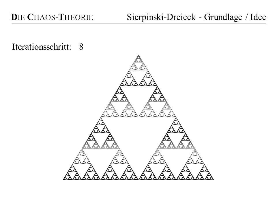 01238Iterationsschritt: D IE C HAOS -T HEORIE Sierpinski-Dreieck - Grundlage / Idee
