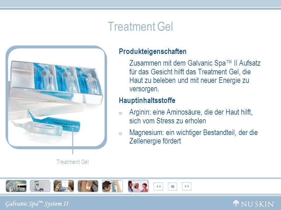 Galvanic Spa System II Treatment Gel Produkteigenschaften Zusammen mit dem Galvanic Spa II Aufsatz für das Gesicht hilft das Treatment Gel, die Haut z