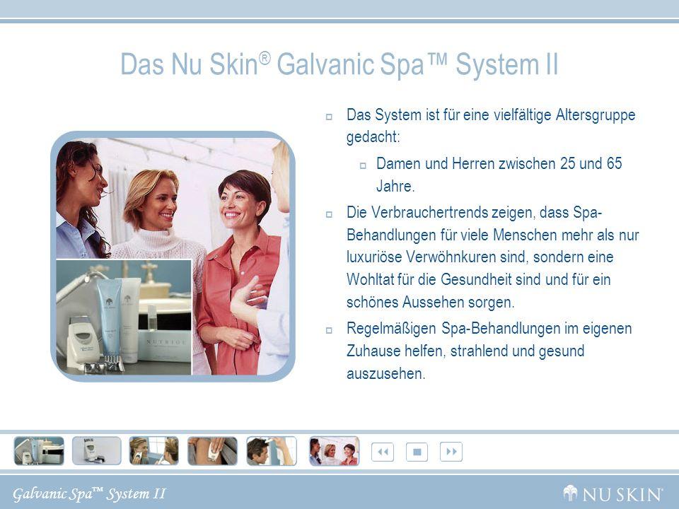 Galvanic Spa System II Das Nu Skin ® Galvanic Spa System II Das System ist für eine vielfältige Altersgruppe gedacht: Damen und Herren zwischen 25 und