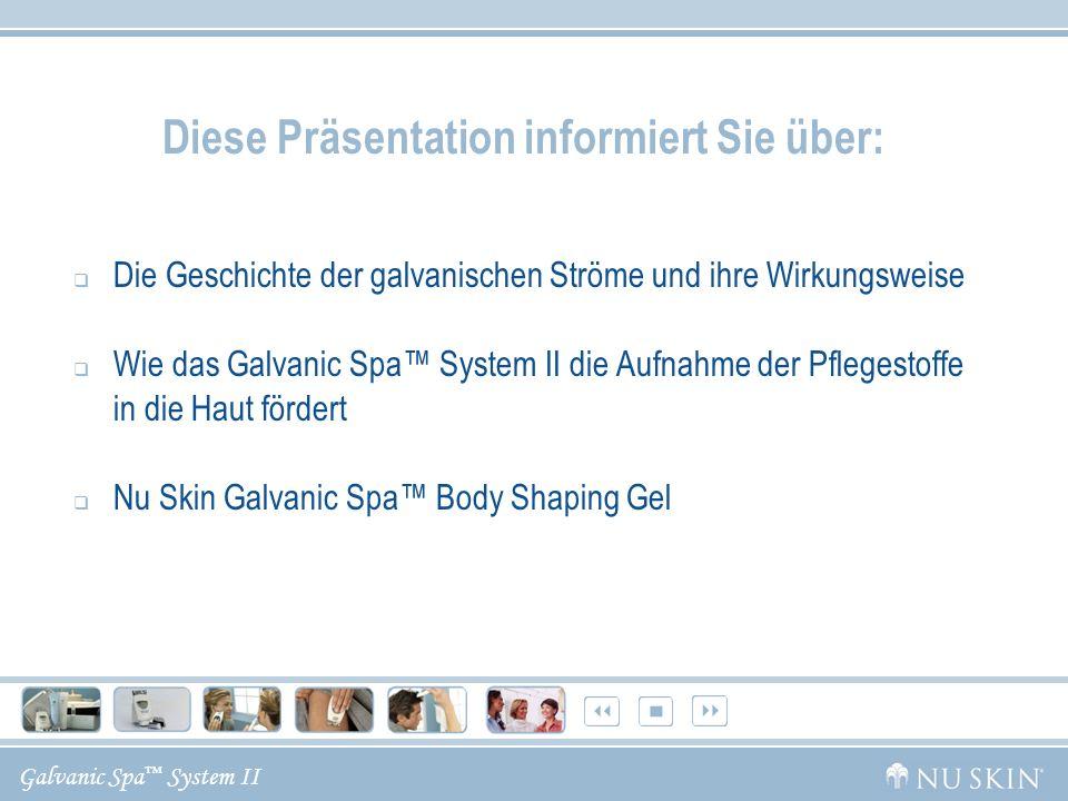Galvanic Spa System II Diese Präsentation informiert Sie über: Die Geschichte der galvanischen Ströme und ihre Wirkungsweise Wie das Galvanic Spa Syst
