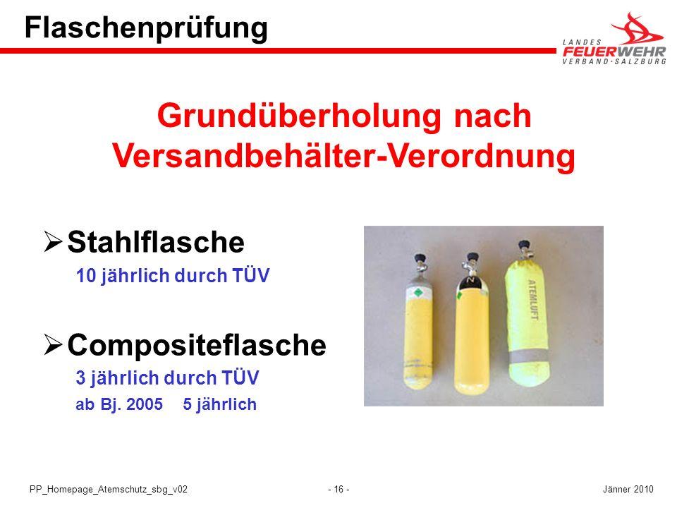 - 16 -PP_Homepage_Atemschutz_sbg_v02 Flaschenprüfung Stahlflasche 10 jährlich durch TÜV Compositeflasche 3 jährlich durch TÜV ab Bj. 2005 5 jährlich G