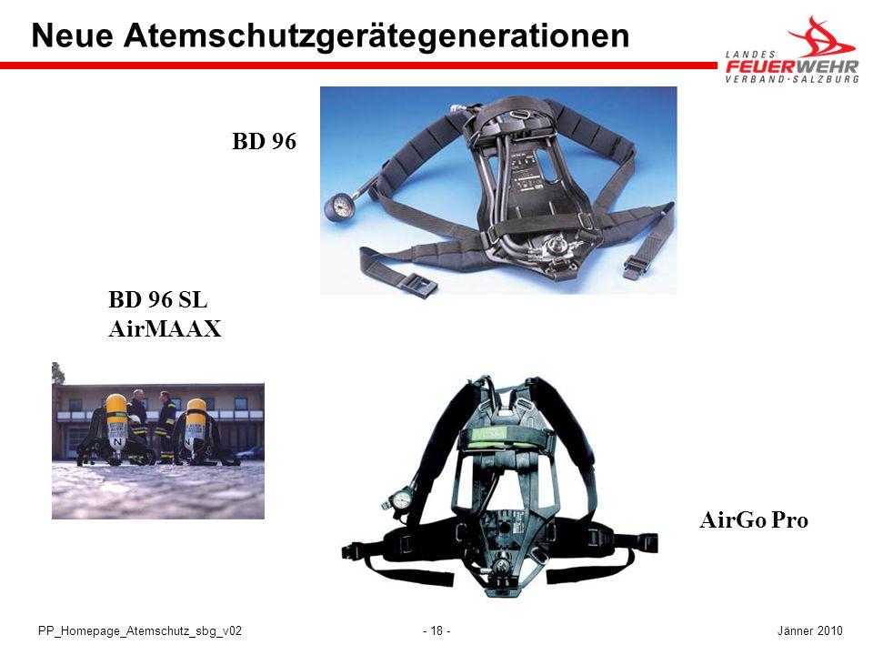 - 18 -PP_Homepage_Atemschutz_sbg_v02 BD 96 Neue Atemschutzgerätegenerationen AirGo Pro BD 96 SL AirMAAX Jänner 2010