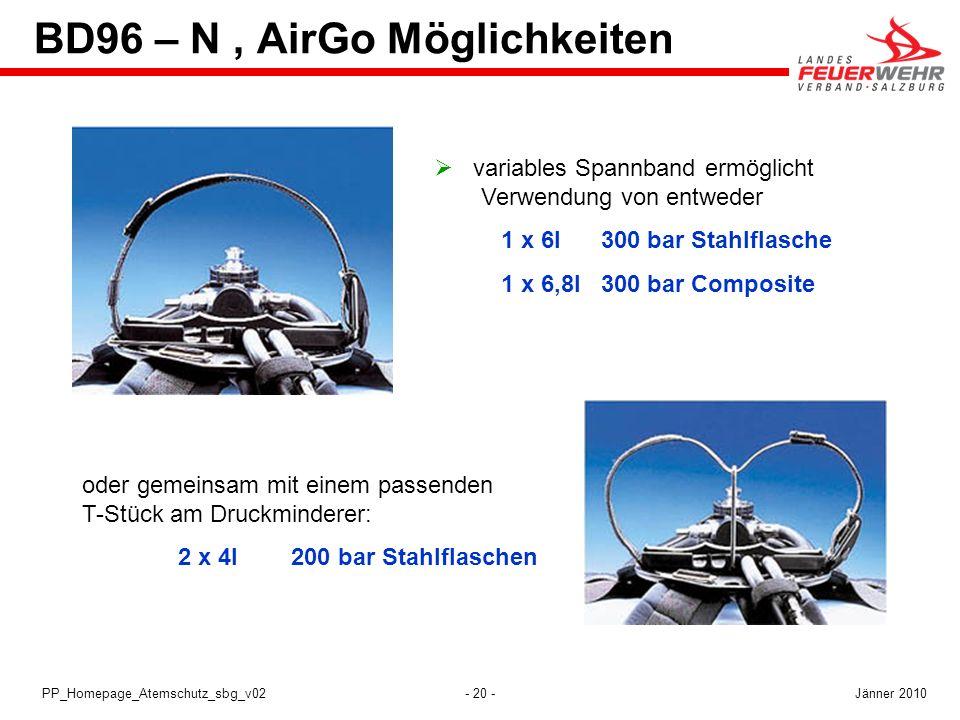 - 20 -PP_Homepage_Atemschutz_sbg_v02 variables Spannband ermöglicht Verwendung von entweder 1 x 6l 300 bar Stahlflasche 1 x 6,8l 300 bar Composite ode