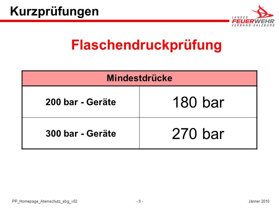 - 9 -PP_Homepage_Atemschutz_sbg_v02 Kurzprüfungen Mindestdrücke 200 bar - Geräte 180 bar 300 bar - Geräte 270 bar Flaschendruckprüfung Jänner 2010
