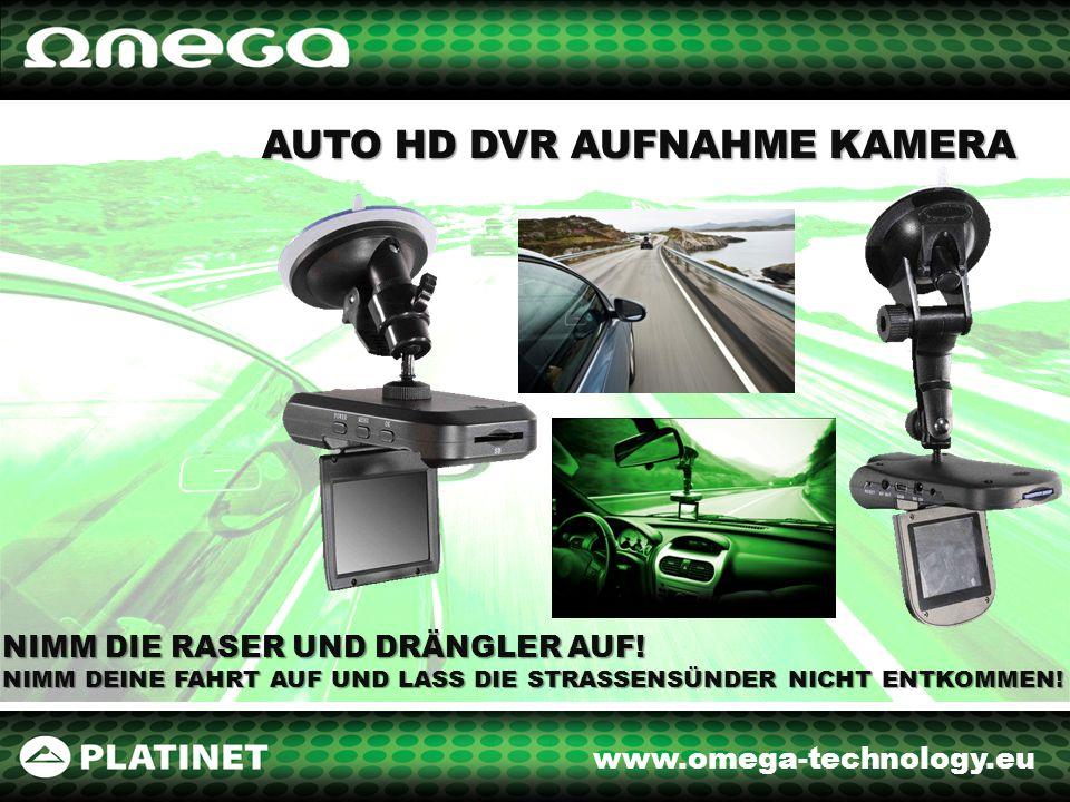 www.omega-technology.eu AUTO DVR AUFNAHME KAMERA 300 kPix OM65 Bild und Ton Aufnahme Gerät mit einem 2,4 Zoll Farbbildschirm TFT Nimmt Aufnahmen in 640x480 ( real) und 1280x960 (interpoliert) auf Unterstützt SD/MMC Karten bis zu 64 MB (Speicherkarte nicht enthalten) Nimmt automatisch nach dem Autostart auf Reagiert sofort auf die Lichtintensitätsänderungen Eingebautes wiederaufladbares Aku.