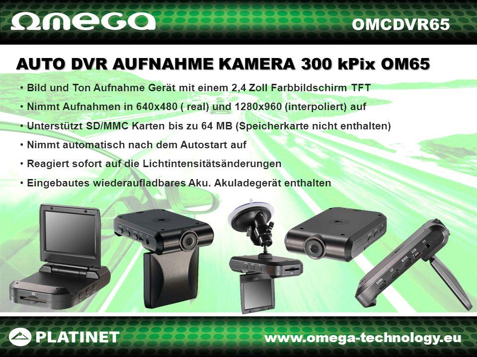 www.omega-technology.eu AUTO DVR AUFNAHME CAMERA HD 720P OM202 Bild und Ton Aufnahme Gerät HD 720p mit einem 2,4 Zoll Farbbildschirm TFT Nachtaufnahme Funktion (INFRAROT) Nimmt Aufnahmen in VGA (640x480), QVGA (320x240), SXGA (1280x960) auf Unterstützt SD/MMC Karten bis zu 64 MB (Speicherkarte nicht enthalten) Nimmt automatisch nach dem Autostart auf Reagiert sofort auf die Lichtintensitätsänderungen Eingebautes wiederaufladbares Aku.