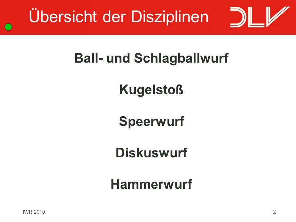 2 Ball- und Schlagballwurf Kugelstoß Speerwurf Diskuswurf Hammerwurf Übersicht der Disziplinen