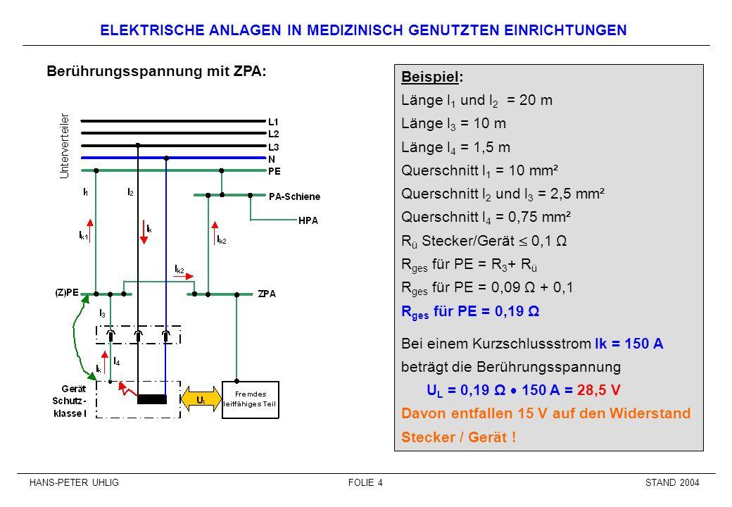 STAND 2004HANS-PETER UHLIGFOLIE 4 ELEKTRISCHE ANLAGEN IN MEDIZINISCH GENUTZTEN EINRICHTUNGEN Berührungsspannung mit ZPA: Beispiel: Länge l 1 und l 2 =