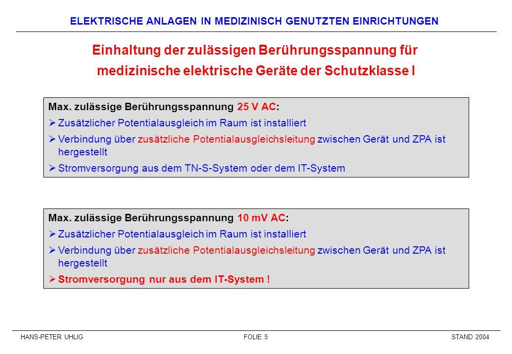 STAND 2004HANS-PETER UHLIGFOLIE 5 ELEKTRISCHE ANLAGEN IN MEDIZINISCH GENUTZTEN EINRICHTUNGEN Max. zulässige Berührungsspannung 25 V AC: Zusätzlicher P