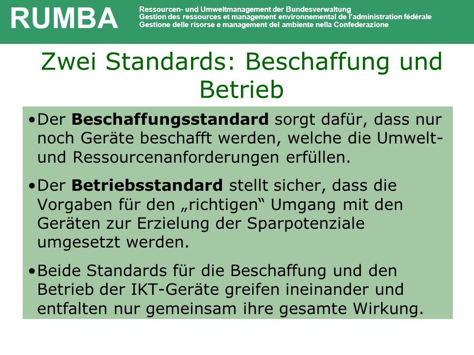 Zwei Standards: Beschaffung und Betrieb Der Beschaffungsstandard sorgt dafür, dass nur noch Geräte beschafft werden, welche die Umwelt- und Ressourcen