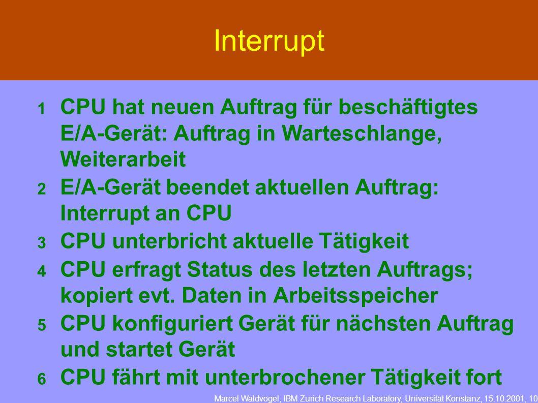 Marcel Waldvogel, IBM Zurich Research Laboratory, Universität Konstanz, 15.10.2001, 10 Interrupt 1 CPU hat neuen Auftrag für beschäftigtes E/A-Gerät:
