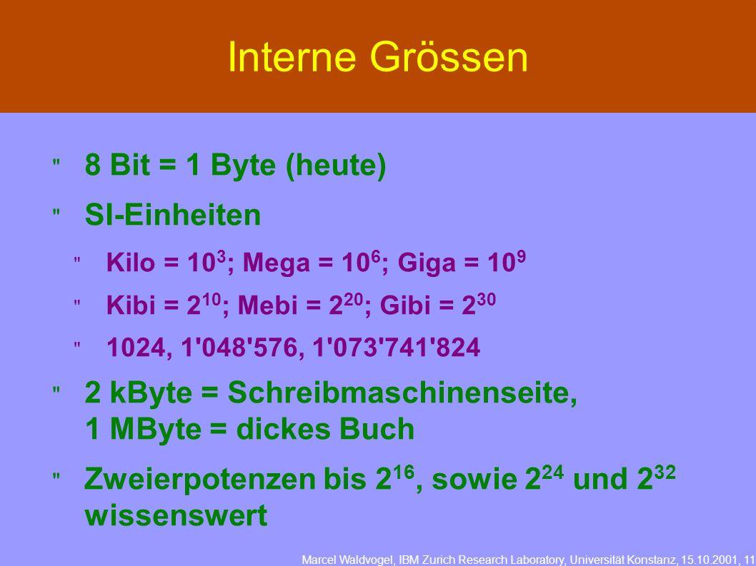 Marcel Waldvogel, IBM Zurich Research Laboratory, Universität Konstanz, 15.10.2001, 11 Interne Grössen 8 Bit = 1 Byte (heute) SI-Einheiten Kilo = 10 3