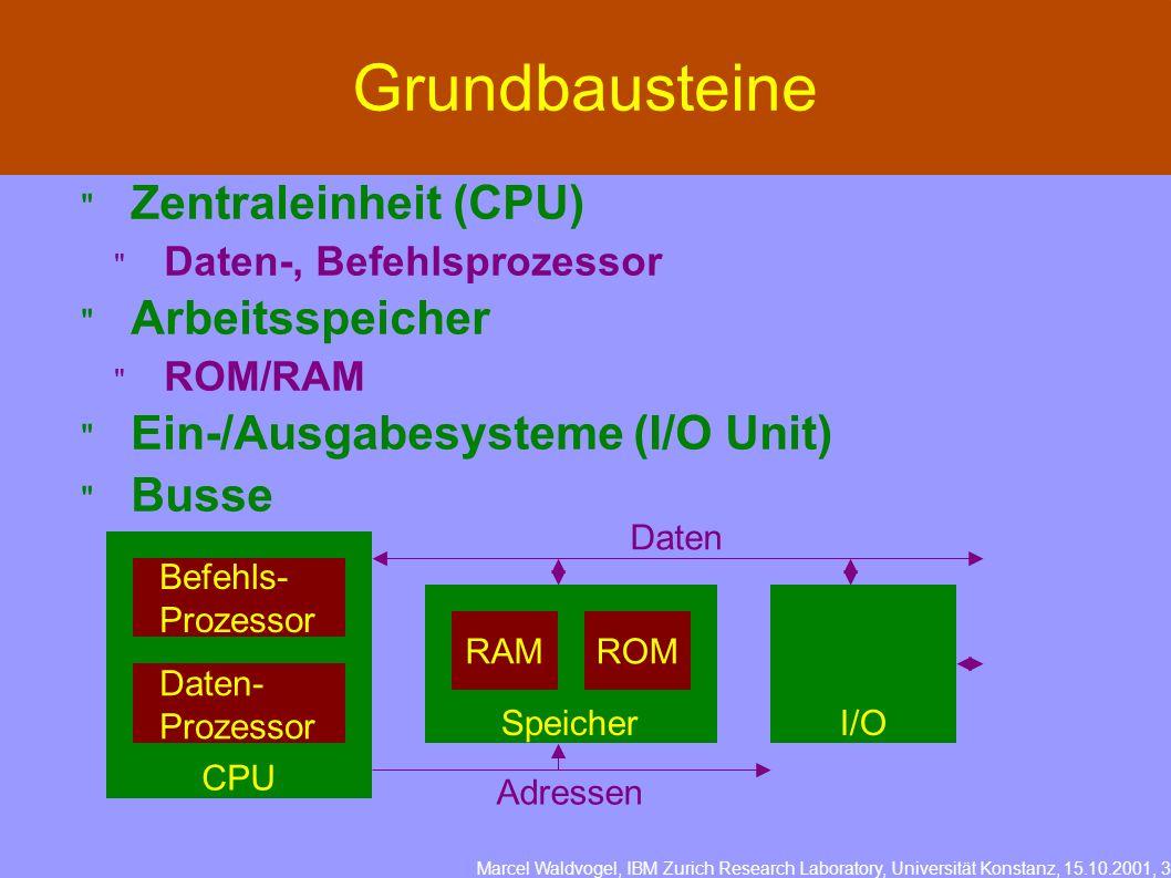 Marcel Waldvogel, IBM Zurich Research Laboratory, Universität Konstanz, 15.10.2001, 3 Zentraleinheit (CPU) Daten-, Befehlsprozessor Arbeitsspeicher ROM/RAM Ein-/Ausgabesysteme (I/O Unit) Busse Grundbausteine CPU Befehls- Prozessor Daten- Prozessor Speicher RAMROM I/O Daten Adressen