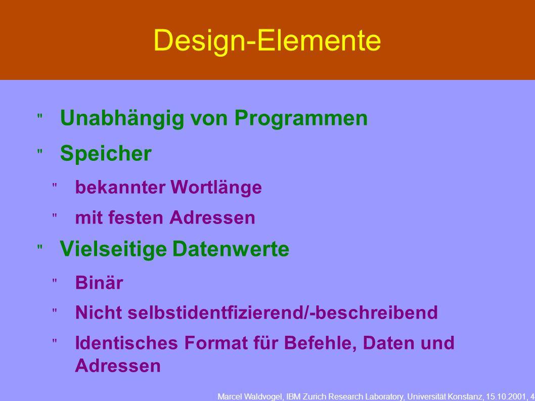 Marcel Waldvogel, IBM Zurich Research Laboratory, Universität Konstanz, 15.10.2001, 4 Design-Elemente Unabhängig von Programmen Speicher bekannter Wor
