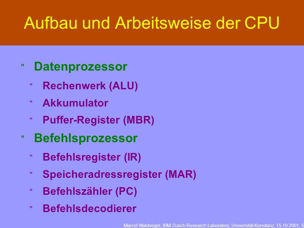 Marcel Waldvogel, IBM Zurich Research Laboratory, Universität Konstanz, 15.10.2001, 5 Aufbau und Arbeitsweise der CPU Datenprozessor Rechenwerk (ALU) Akkumulator Puffer-Register (MBR) Befehlsprozessor Befehlsregister (IR) Speicheradressregister (MAR) Befehlszähler (PC) Befehlsdecodierer
