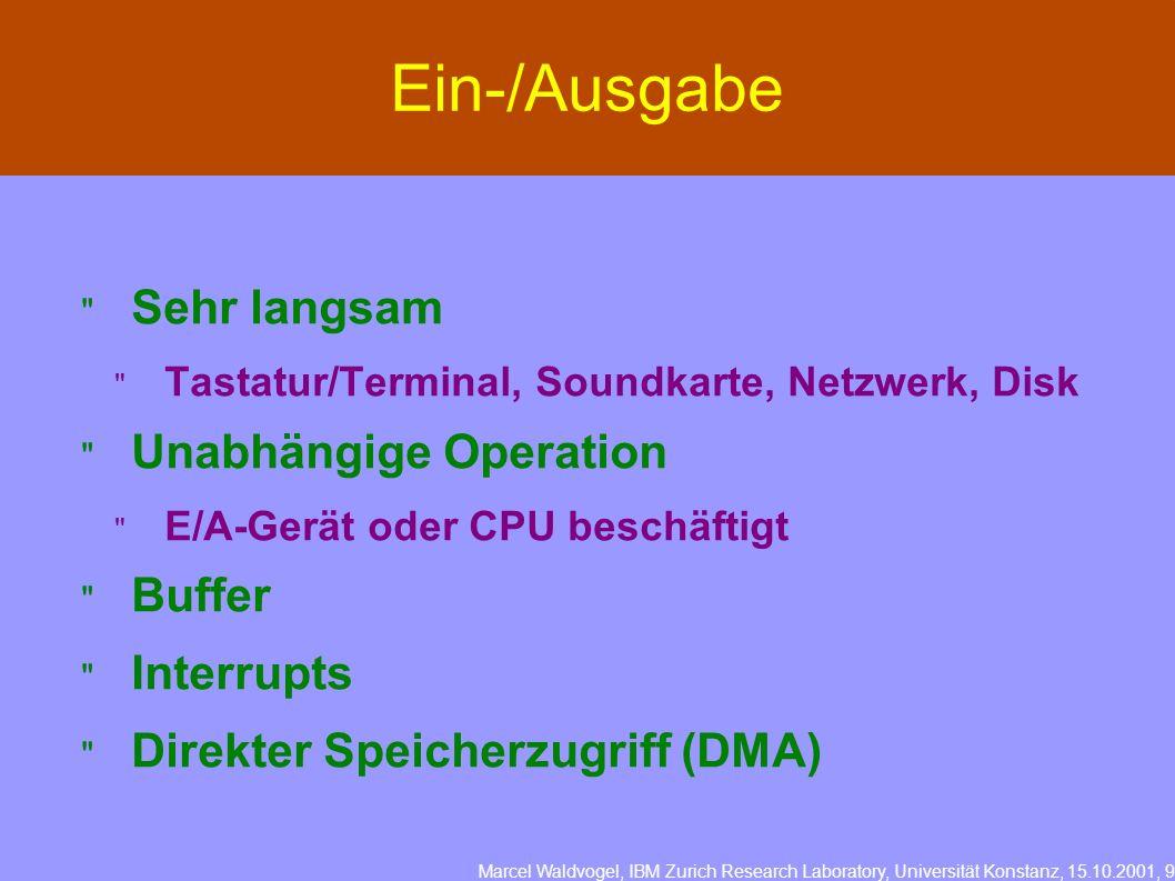 Marcel Waldvogel, IBM Zurich Research Laboratory, Universität Konstanz, 15.10.2001, 9 Ein-/Ausgabe Sehr langsam Tastatur/Terminal, Soundkarte, Netzwer
