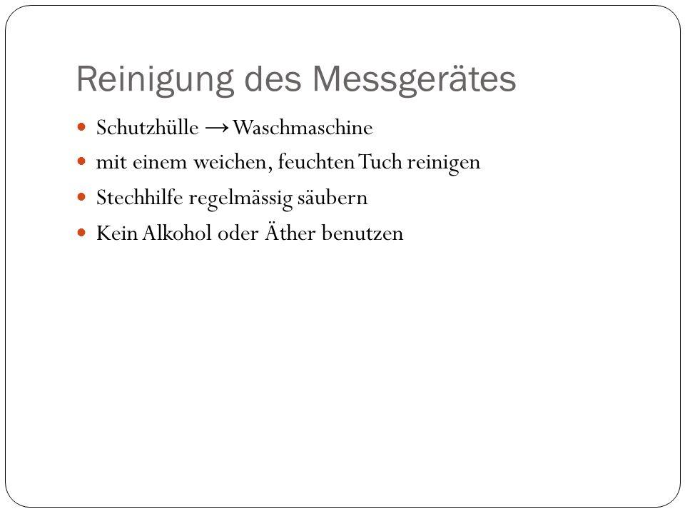Auswahl des Messgerätes Grösse Grösse und Form des Teststäbchens Bildschirm Programm z.B.