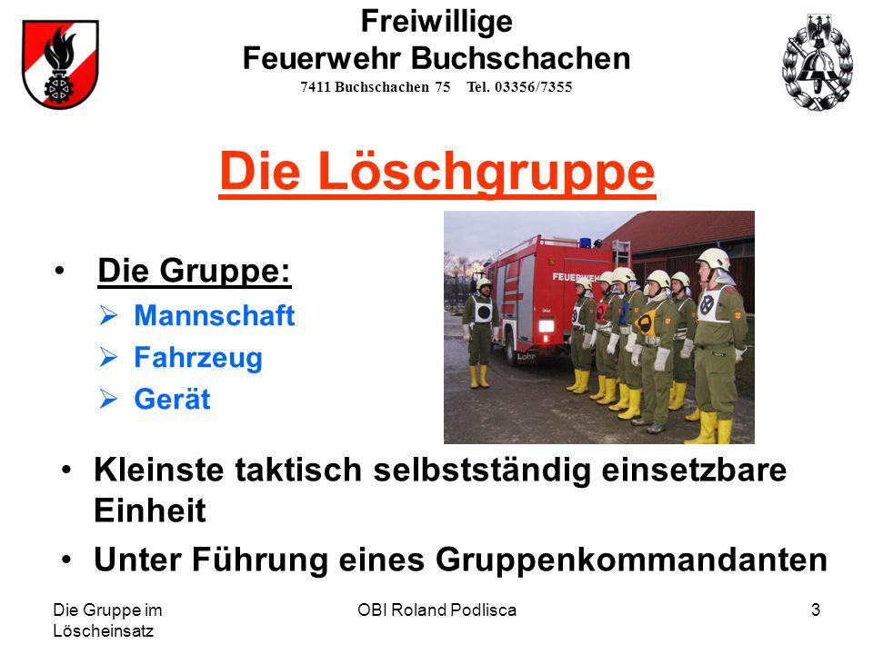 Die Gruppe im Löscheinsatz OBI Roland Podlisca3 Die Löschgruppe Die Gruppe: Mannschaft Fahrzeug Gerät Kleinste taktisch selbstständig einsetzbare Einh