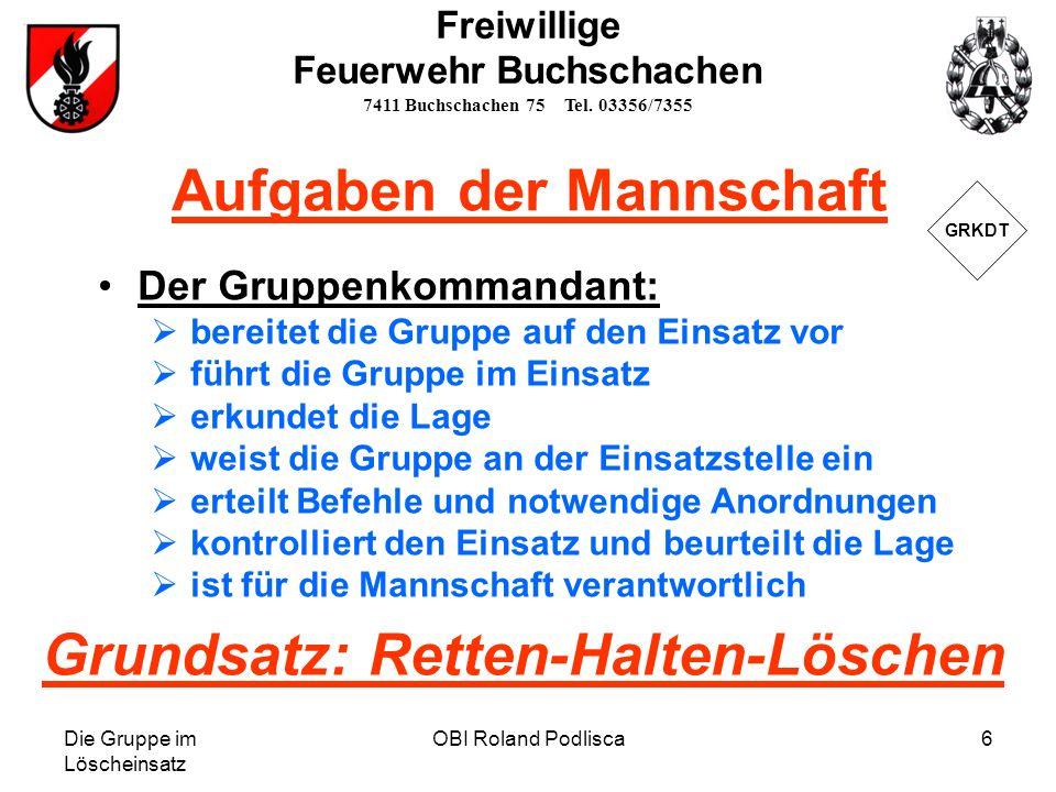 Die Gruppe im Löscheinsatz OBI Roland Podlisca17 Freiwillige Feuerwehr Buchschachen 7411 Buchschachen 75 Tel.