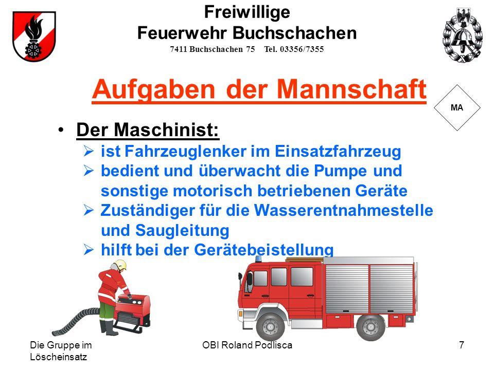 Die Gruppe im Löscheinsatz OBI Roland Podlisca7 Der Maschinist: ist Fahrzeuglenker im Einsatzfahrzeug bedient und überwacht die Pumpe und sonstige mot