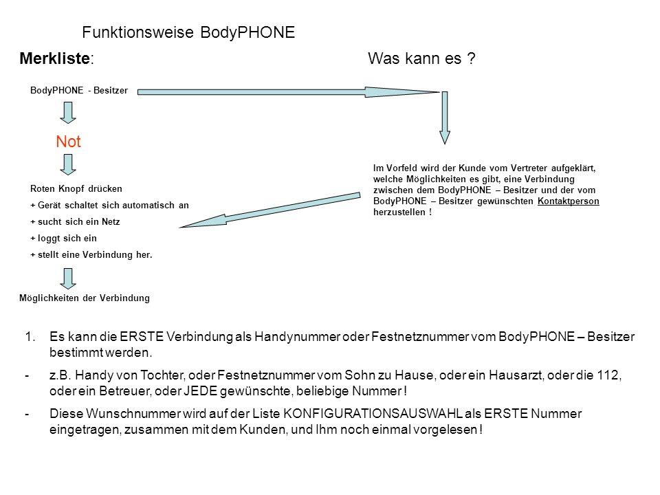 Funktionsweise BodyPHONE ( Kreislaufsystem ) Wählt sich in Sendemast ein 1.