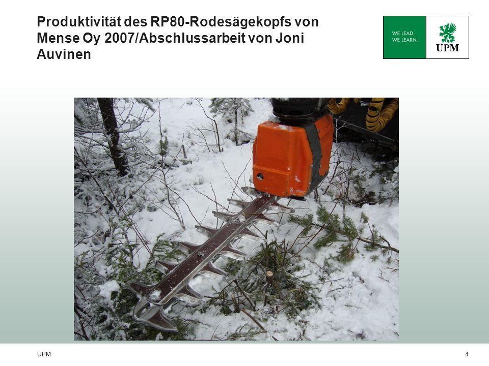 UPM5 UPM Die Wälder maschinell in Form bringen/ Kari Kuru Eine von UPM Metsä in Auftrag gegebene Abschlussarbeit Joni Auvinen / Fachhochschule Kotka Messungen im Jahr 2007 Abgang kalkulativer Waldarbeiter durchschnittlicher Waldarbeiter Maschine 48 /h Lin.(kalkulativer Waldarbeiter) Lin.