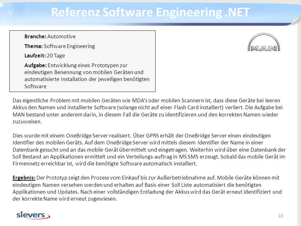 Referenz Software Engineering.NET 10 Das eigentliche Problem mit mobilen Geräten wie MDAs oder mobilen Scannern ist, dass diese Geräte bei leeren Akku
