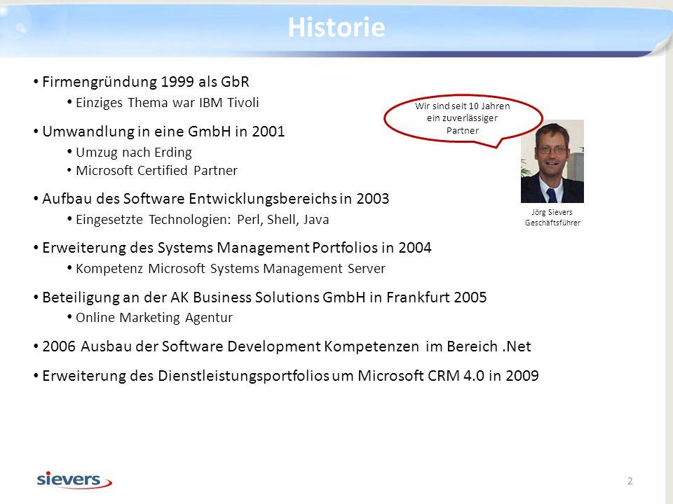 Historie Firmengründung 1999 als GbR Einziges Thema war IBM Tivoli Umwandlung in eine GmbH in 2001 Umzug nach Erding Microsoft Certified Partner Aufba