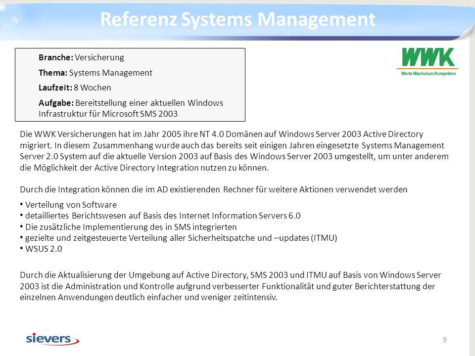 Referenz Systems Management 9 Die WWK Versicherungen hat im Jahr 2005 ihre NT 4.0 Domänen auf Windows Server 2003 Active Directory migriert. In diesem