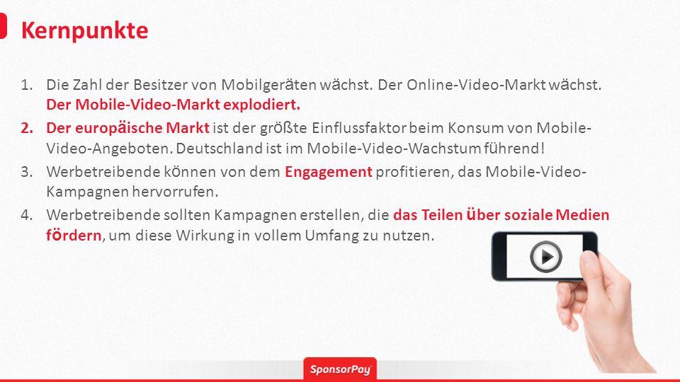 Kernpunkte 1.Die Zahl der Besitzer von Mobilger ä ten w ä chst. Der Online-Video-Markt w ä chst. Der Mobile-Video-Markt explodiert. 2.Der europ ä isch