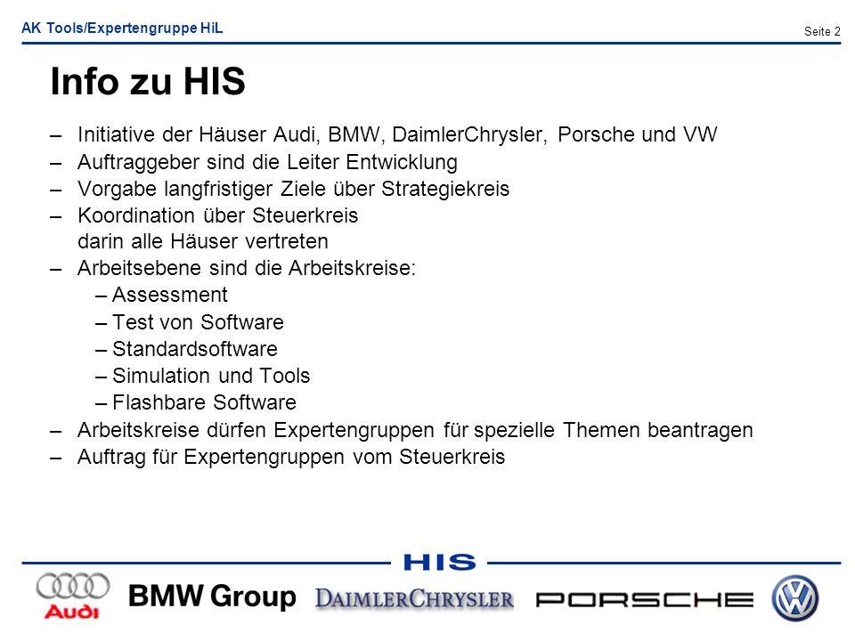 AK Tools/Expertengruppe HiL Seite 2 Info zu HIS –Initiative der Häuser Audi, BMW, DaimlerChrysler, Porsche und VW –Auftraggeber sind die Leiter Entwic