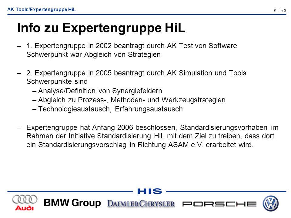 AK Tools/Expertengruppe HiL Seite 3 Info zu Expertengruppe HiL –1. Expertengruppe in 2002 beantragt durch AK Test von Software Schwerpunkt war Abgleic