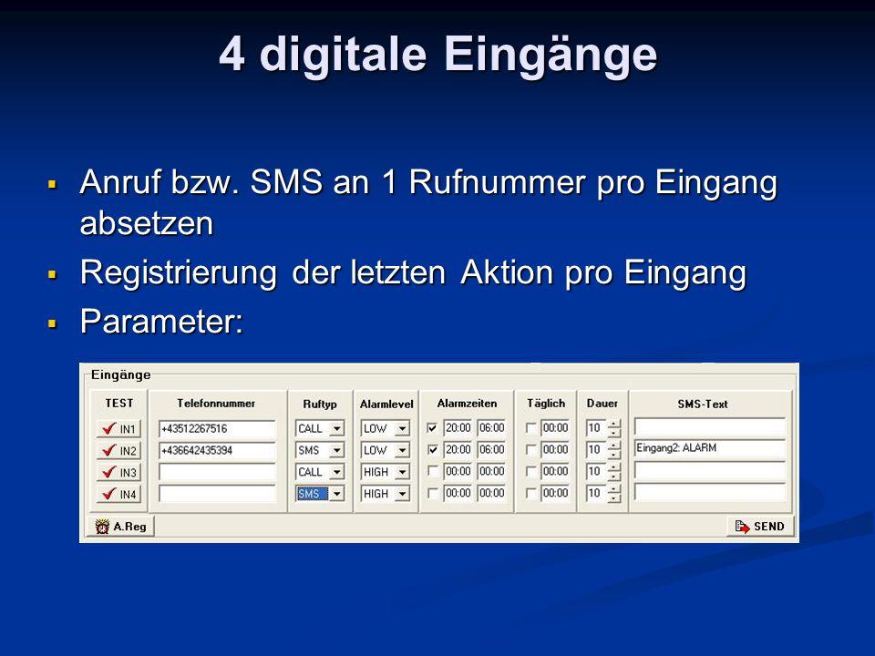 Anruf bzw. SMS an 1 Rufnummer pro Eingang absetzen Anruf bzw.